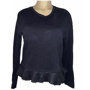 J Crew Womens Black Jersey Knit Ruffle Hem Shirt